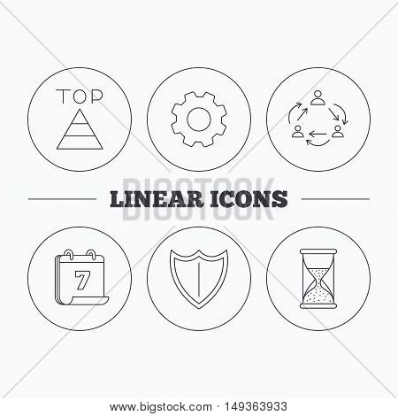 Teamwork, shield and top pyramid icons. Hourglass linear sign. Flat cogwheel and calendar symbols. Linear icons in circle buttons. Vector