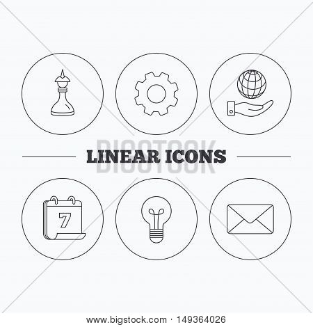Strategy, save planet and mail envelope icons. Lamp lightbulb linear sign. Flat cogwheel and calendar symbols. Linear icons in circle buttons. Vector