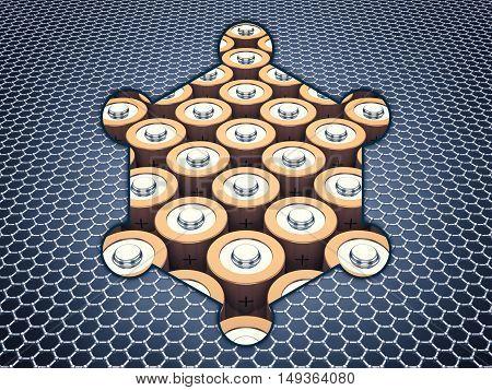 Graphene supercapacitor batteries , Nanotechnology , 3d illustration