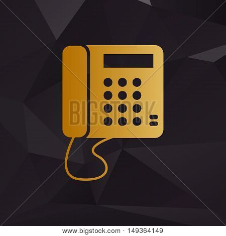Communication Or Phone Sign. Golden Style On Background With Polygons.