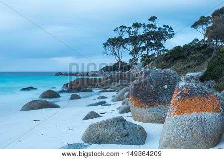 Rocks decorated with red lichen contrast the calm blue sea at Binalong Bay, Bay of Fires, Tasmania