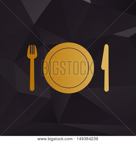 Fork, Plate And Knife. Golden Style On Background With Polygons.