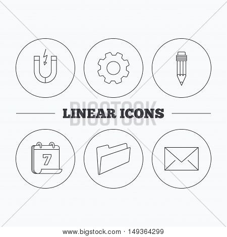 Folder, pencil and mail envelope icons. Magnet linear sign. Flat cogwheel and calendar symbols. Linear icons in circle buttons. Vector