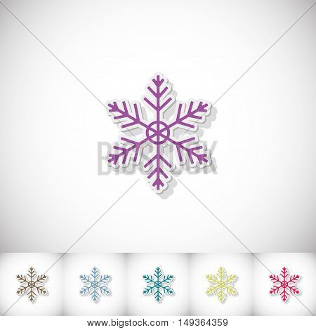 Snowflake. Flat sticker with shadow on white background. Vector illustration