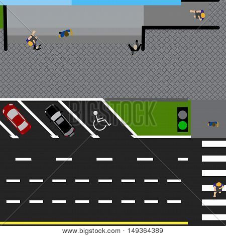 Plot road, highway, street, with the store. With a variety of cars in the parking lot. The intersection and parking cards. Top view of the highway. Vector illustration
