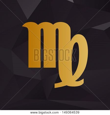 Virgo Sign Illustration. Golden Style On Background With Polygons.