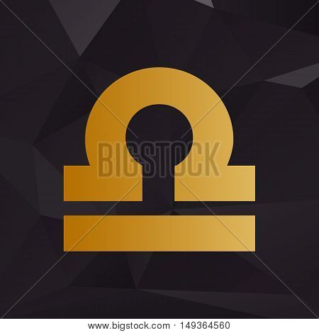 Libra Sign Illustration. Golden Style On Background With Polygons.