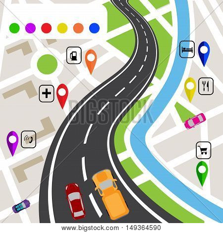 Road infographics. Winding road with markers on the map terrain. The path specifies the navigator. Vector illustrations