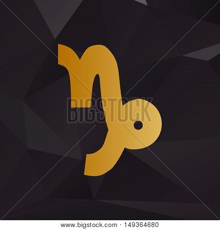 Capricorn Sign Illustration. Golden Style On Background With Polygons.