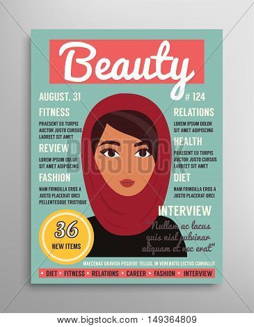 Magazine cover template about beauty, fashion and health for arab muslim women. Vector illustration.