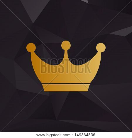 King Crown Sign. Golden Style On Background With Polygons.