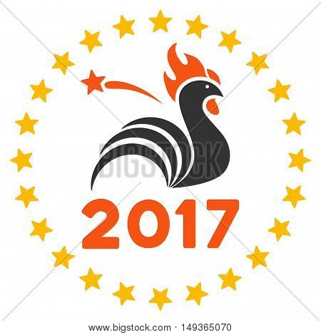 2017 Rooster Year Celebration icon. Glyph style is flat iconic symbol on a white background.