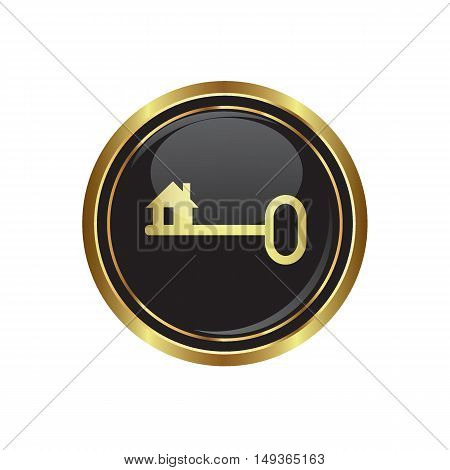 Key icon on the button. Vector illustration