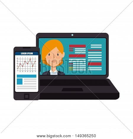 laptop computer and digital curriculum vitae woman profile and smartphone with charts. vector illustration