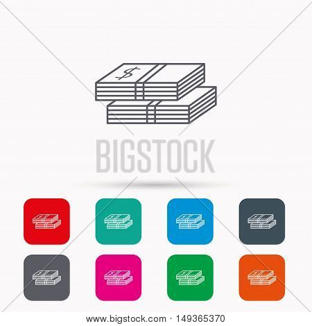 Cash icon. Dollar money sign. USD currency symbol. 2 wads of money. Linear icons in squares on white background. Flat web symbols. Vector