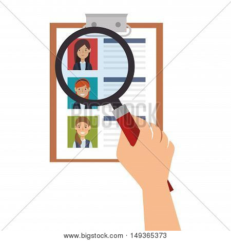 woman curriculum vitae document and hand with magnifying glass. vector illustration
