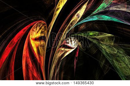 Theatrical Mask. Fractal art. Theater curtain background.
