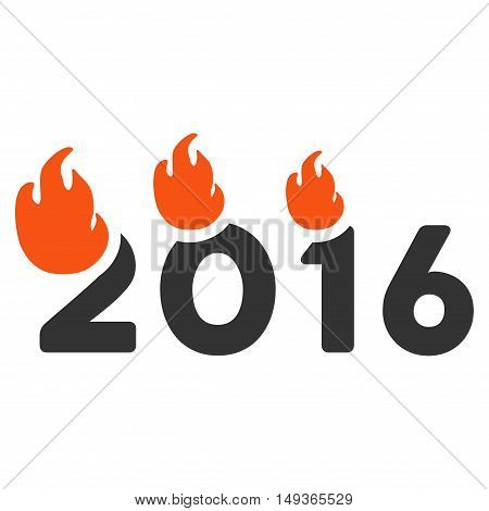 Fired 2016 Year icon. Glyph style is flat iconic symbol on a white background.