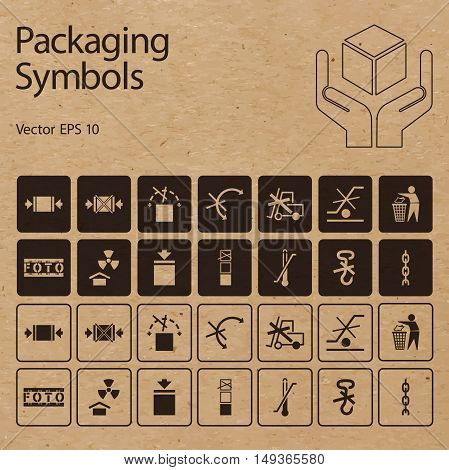 Vector packaging symbols on vector cardboard background. Icon set including Don't roll Protect from radiation Clamp here Handle with care and other caution handling symbols.