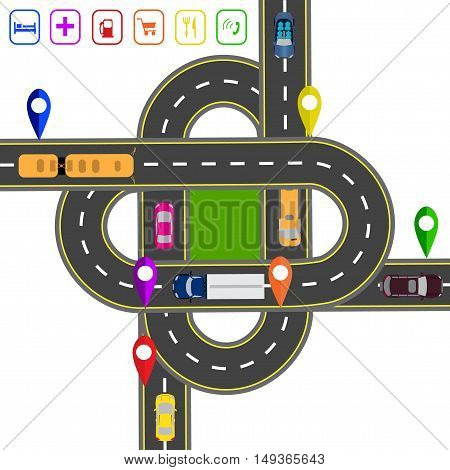 Road infographics. Noted on various objects map. Abstract transportation hub. The intersections of various roads. Transport. Vector illustration