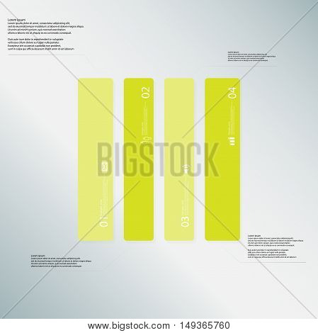 Rectangle Illustration Template Consists Of Four Green Parts On Light-blue Background