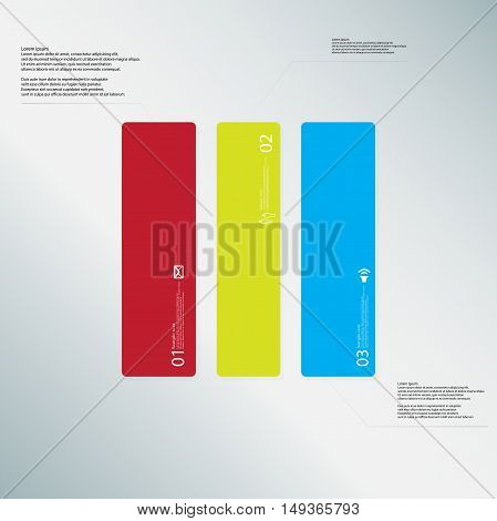 Rectangle Illustration Template Consists Of Three Color Parts On Light-blue Background