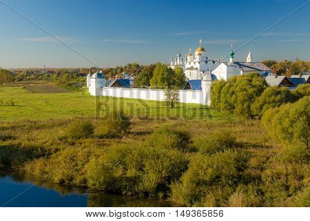 Summer river landscape in Suzdal.