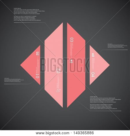 Rhombus Illustration Template Consists Of Fourred Parts On Dark Background