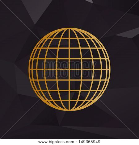 Earth Globe Sign. Golden Style On Background With Polygons.