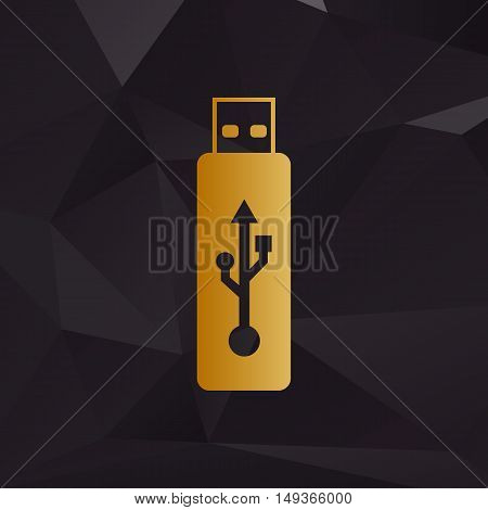 Vector Usb Flash Drive Sign. Golden Style On Background With Polygons.