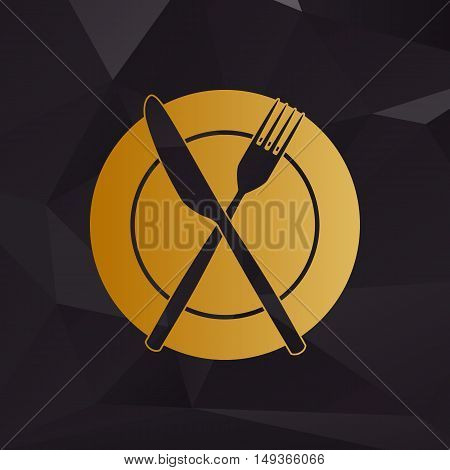 Fork, Tape And Knife Sign. Golden Style On Background With Polygons.