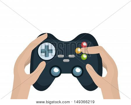 human hands with video game control with buttons and joystick. vector illustration