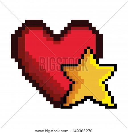 red heart and yellow star shape video game pixel figure icon. vector illustration