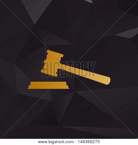 Justice Hammer Sign. Golden Style On Background With Polygons.