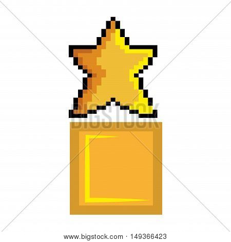 yellow star shape and block pixel video game figure. vector illustration