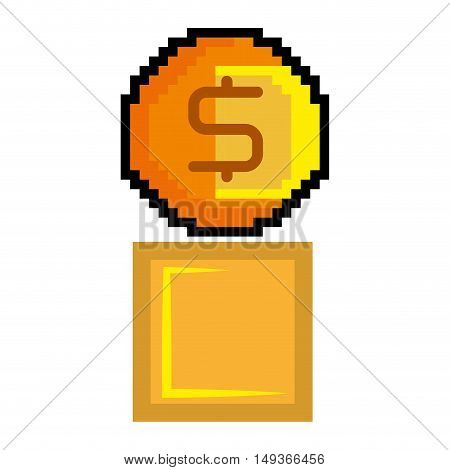 gold coin and yellow block pixel video game figure. vector illustration