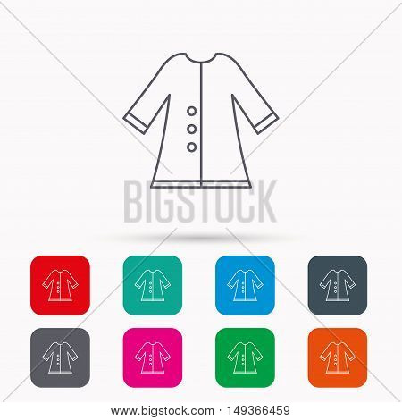 Cloak icon. Protection jacket outerwear sign. Gardening clothes symbol. Linear icons in squares on white background. Flat web symbols. Vector