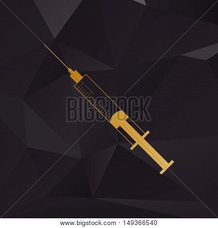 Syringe Sign Illustration. Golden Style On Background With Polygons.