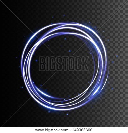 Swirl trail effect, Glowing light effect, Neon blurry circles at motion, Abstract vector illustration