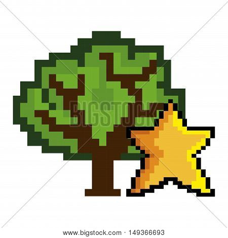 green tree and star shape pixel video game figure. vector illustration