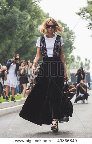 Candela Novembre Posing During Milan Fashion Week
