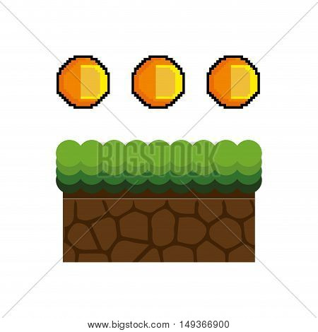 Texture for platformers pixel art raster. ground mud block with grass on top pattern video game and gold coin design. vector illustration