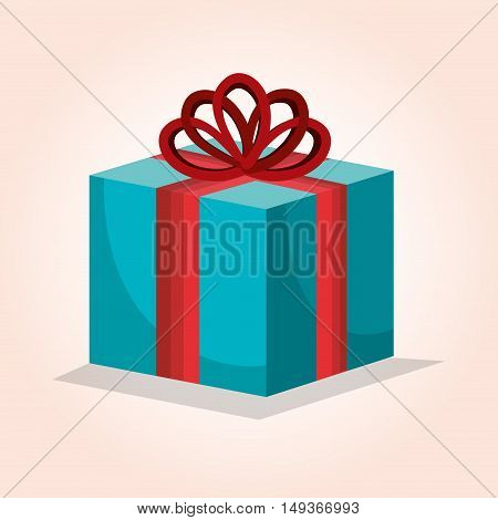 blue box gift bow red design isolated vector illustration
