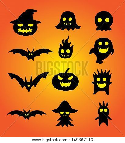 Ghost cartoon set for Halloween design pattern and other job.