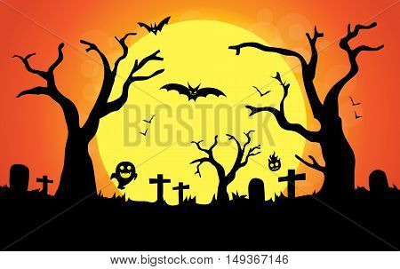 Graveyard have bats and ghost on a full moon night. This illustration about Halloween.