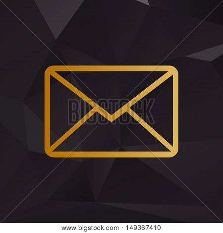 Letter Sign Illustration. Golden Style On Background With Polygons.