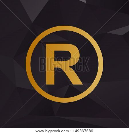 Registered Trademark Sign. Golden Style On Background With Polygons.