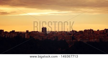 Mediterranean Town. Late Evening In Enna.