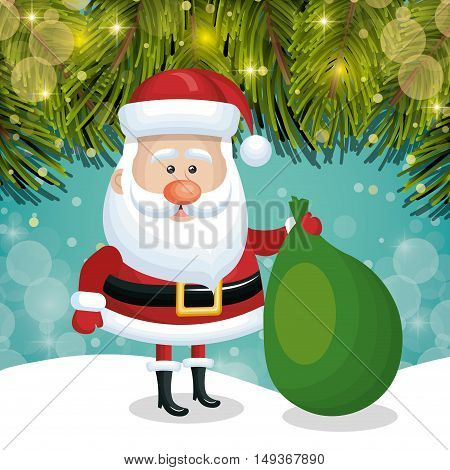 santa claus card snowfall with pine light graphic vector illustration