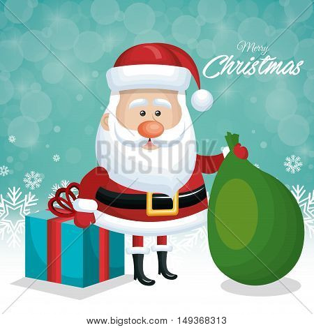 merry christmas card santa with gift and green bag design vector illustration